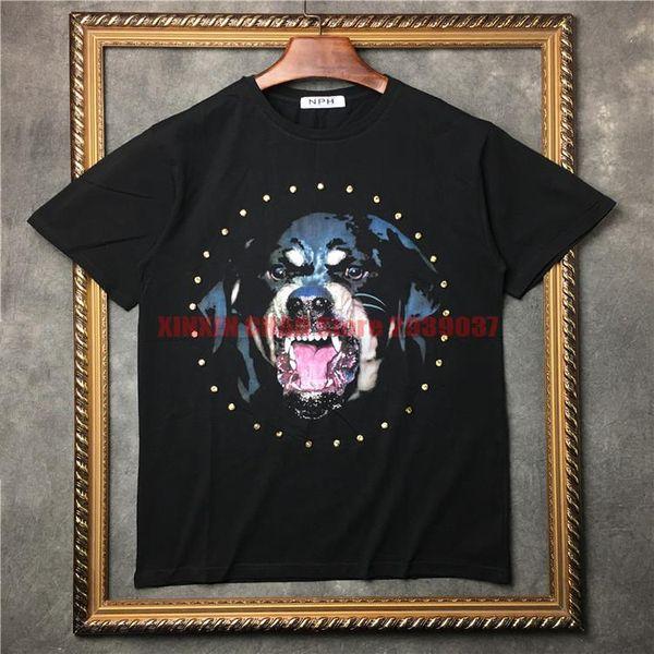 2018 yaz gelgit avrupa giyim erkekler 3D Rottweiler elmas baskı t-shirt pamuk hip hop Tasarımcı t shirt kadın tee tops