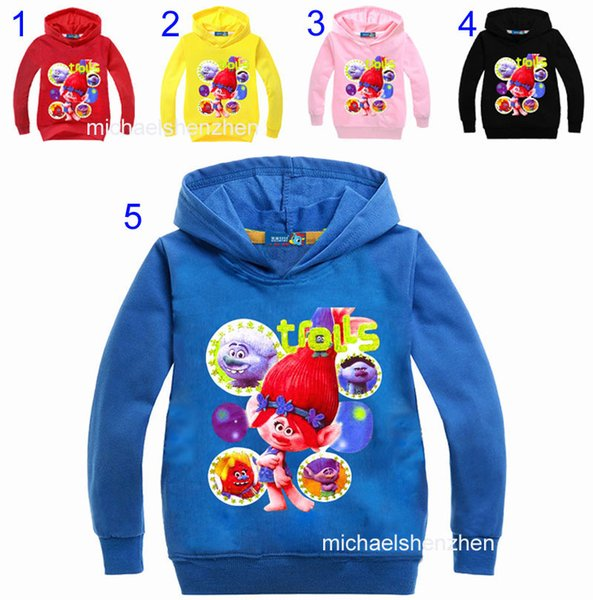 best selling 34 Style Boys girls Trolls Hoodies Sweatshirts 2017 New children trolls Long sleeve cotton Hoodie jacket kids coat 2-9years B001