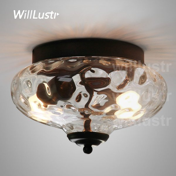 ceiling lamp clear glass shade lighting transparent pineapple water wave crystal parisian architectural milk glass ecole flushmount light
