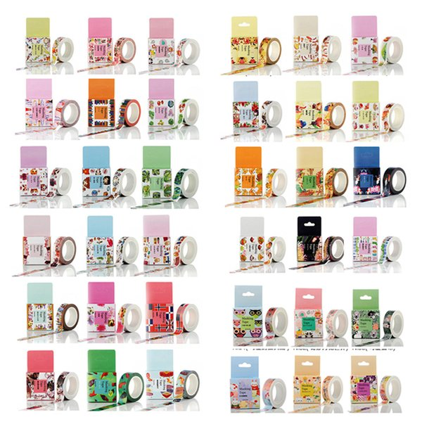 top popular 1.5cm x 1000cm Sticky Paper Washi Masking Tapes DIY Decorative Tape Scrapbook Paper Masking Sticker Photo Album Washi Tape 2016 2021