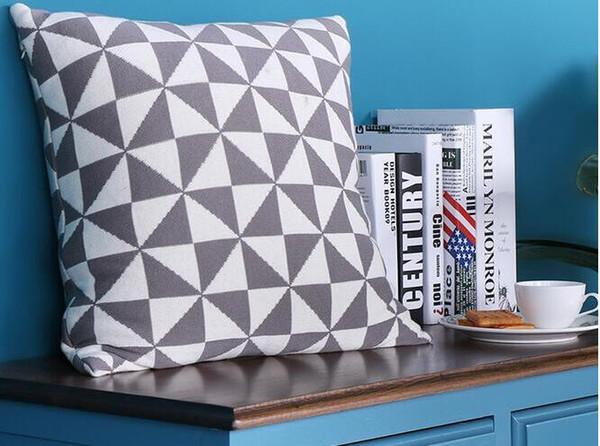 45 * 45 cm gris blanc 100% coton tricoté housse de coussin oreiller décoratif triangle géométrique oreiller couvre décoration de canapé maison
