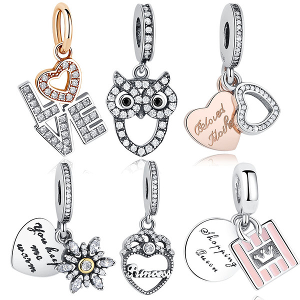BELAWANG 6 Estilos 925 Sterling Silver Coração Forma de Amor Encantos Encantos Rosa Serve Para Pandora Charme Pulseiras Jóias Fazendo para o Dia das Mães