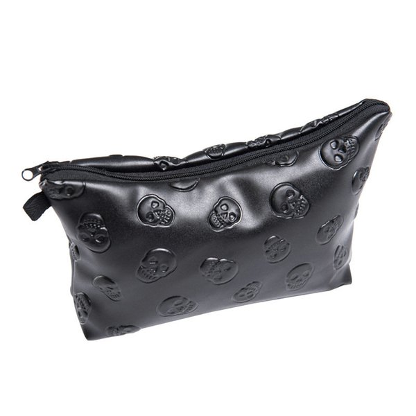 Wholesale- 2017 New Leather skull Women Portable Type Bags Zipper Cosmetic Bag Storage Make up Bag Organizer Travel Toiletry Makeup Bags