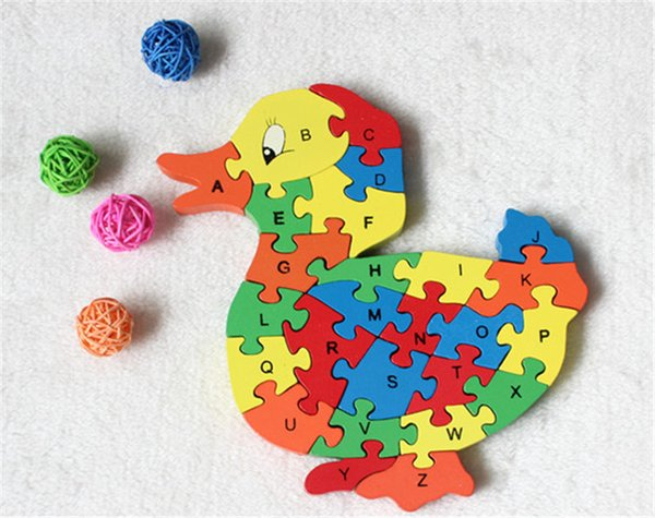 top popular New wooden toy Animal Cartoon Duck 26 piece English letters and digital cognitive Wooden Jigsaw Puzzle 2019