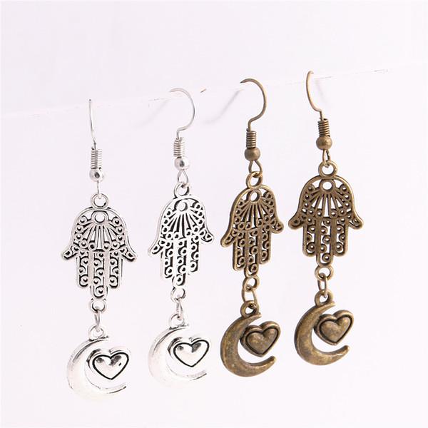 12pcs/lot Metal Alloy Zinc Hamsa Hand Connector Moon Heart Pendant Charm Drop Earing Diy Jewelry Making C0746