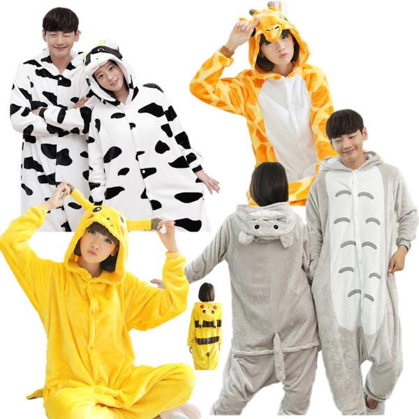 Vaca. Vizinho Totoro.Pikachu Kigurumi Pijamas Animal Ternos Cosplay Halloween Traje Adulto Vestuário Macacões Dos Desenhos Animados Unisex Animal Pijamas