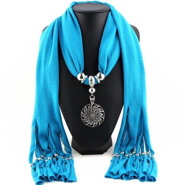 Tassel scarf polyester Alloy round flower pendant jewelry scarf necklace scarves for women 13 colors