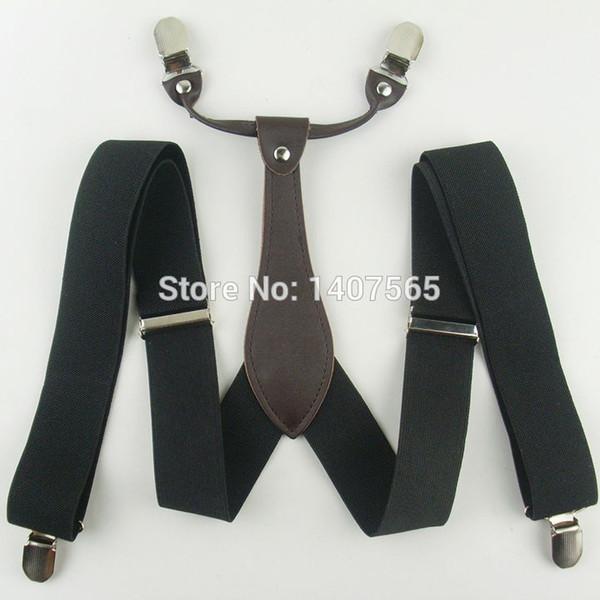 Bretelle nere solide Clip-on regolabili con clip da 3,5 cm