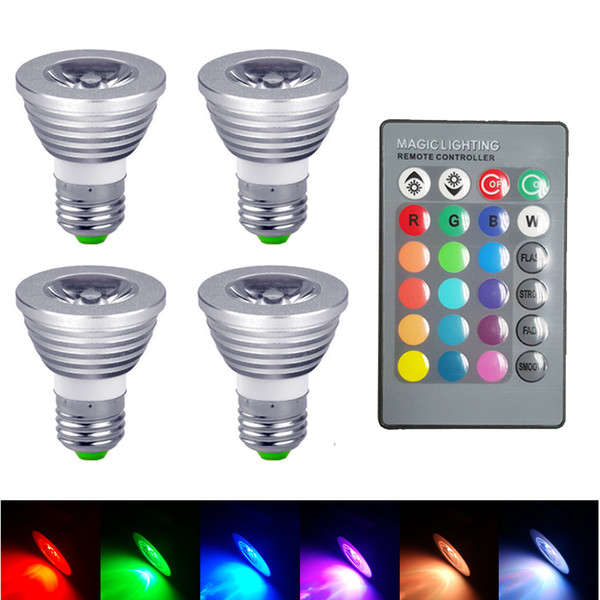 3W 5W E27 GU10 MR16 E14 RGB LED Bulb Lampada 16 Colors Dimmable Led Lamp Light Spotlight 12V +24key Remote Controller candelier