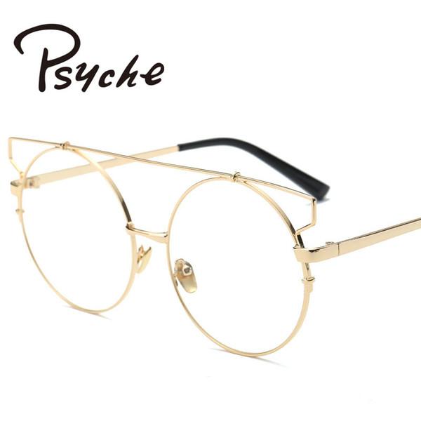 Vente en gros-Vintage punk lunettes femmes à la mode unique lunettes métalliques cadres Oversize ronde lunettes cadres femmes Clear Lens verres X2014