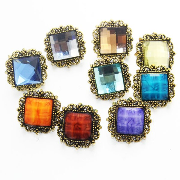 10pcs/lot Mixed 18mm Square Rhinestones Retro snap buttons with Luxury button for bracelets and necklace pendant jewelry