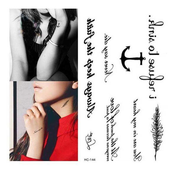 Su geçirmez Sahte Dövme Harajuku Siyah Kelimeler Çapa Yaprak Tasarım Kadınlar Parmak Sevimli Flaş Dövme Geçici Dövmeler Sticker