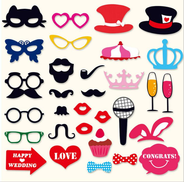 31pcs/lot Funny Handheld DIY Masks Photo Champagne Glass Lips Beard Glasses On A Stick Weeding Party Favor Paper Masks