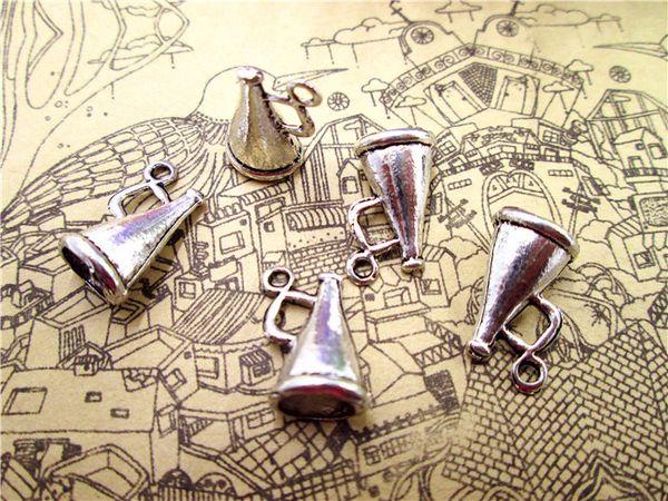 75pcs--Cheerleader Megaphone Charms, Antique Tibetan Silver 3D Megaphone charm Pendants 16x9mm