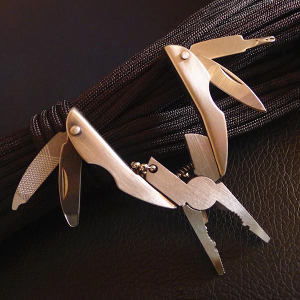 Pince pliante multifonction portable, mini pinces multi-outils Tournevis porte-clés, camping Survie EDC Tools Kits de voyage