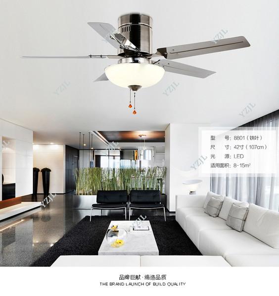 Compre LED Para De De Acero Techo Restaurante Lámpara Elegante Sala De De Estar Ventiladores Ventilador Ventiladores Techo Y De Sencillo Hoja UVMzqSp