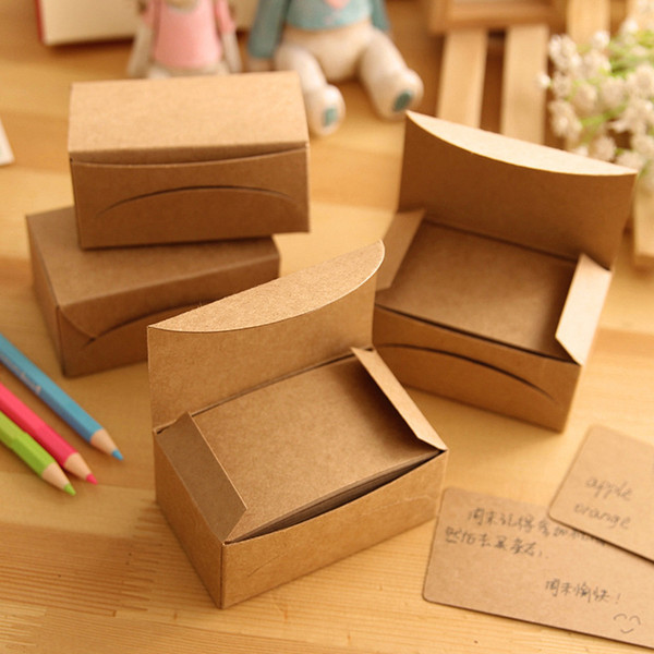 best selling Wholesale- 100pcs box Vintage Empty Kraft Message Business Card Stationery Sketchbook Note Pad Office School Supplies Papelaria
