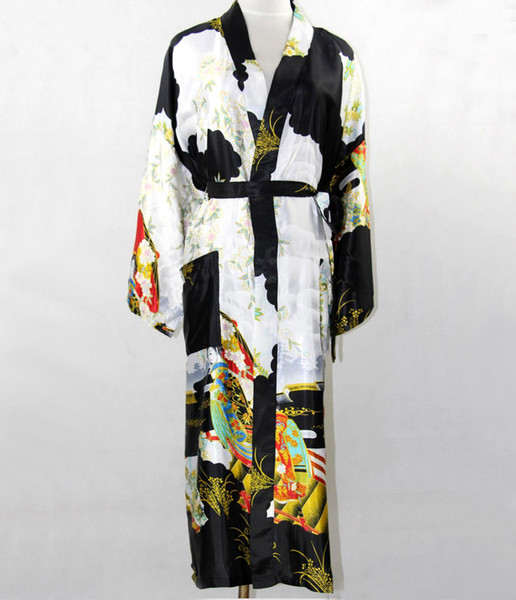 Wholesale- Promotion Black Silk Long Robe Chinese Vintage Women Rayon Nightwear Kimono Yukata Bath Gown Plus Size S M L XL XXL XXXL NR035