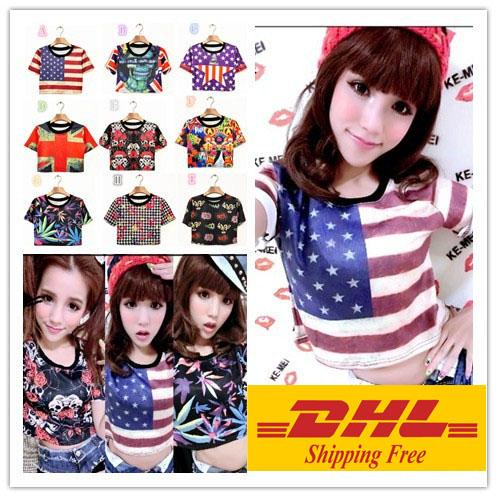 DHL free shipping 2017 Harajuku Geek Women Tank Top Singlet Vest T Shirts Sexy Crop top t-shirt for girls with skull rose flag printed.