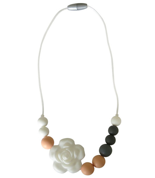 New Silicone Teething Necklace Flower Beads Teether Pendant Food Grade Silicone Sensory Necklace for Baby Chewing Mommy Necklace