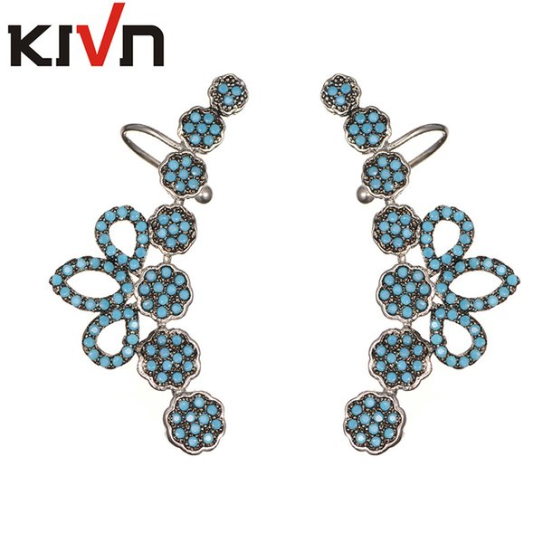 top popular KIVN Fashion Jewelry CZ Cubic Zirconia Ear Cuff Ear Crawler Climber Earrings for Women Chirtmas Birthday Girls Mothers Day Gifts 2019