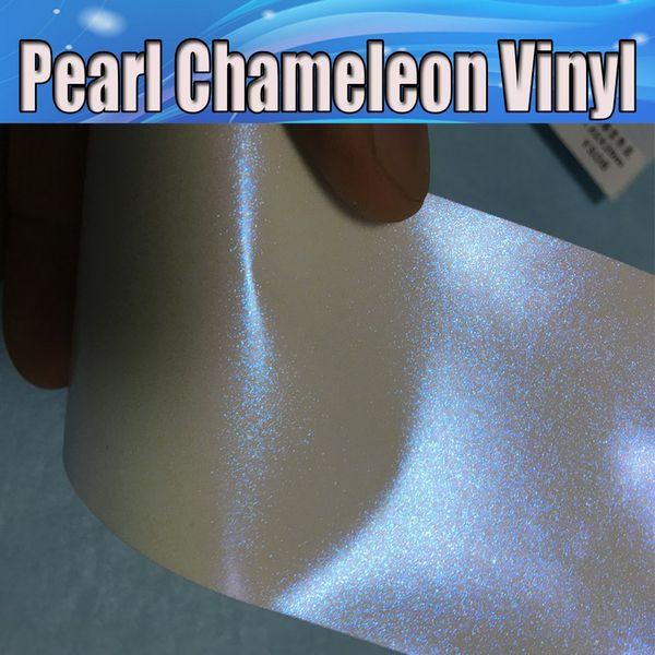 Matte White to Blue Pearl Glitter Shrap Film vinyle avec film sans bulle d'air Wrap de voiture couvrant la peau Film Union Wrap 1.52 * 20M / Roll 5X67F