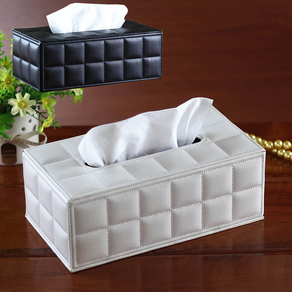 top popular Wholesale- Facial Tissue Box Cover PU Leather Home Office Hotel Car Rectangle Container Towel Napkin Tissue serviette en papier Case Holder 2021