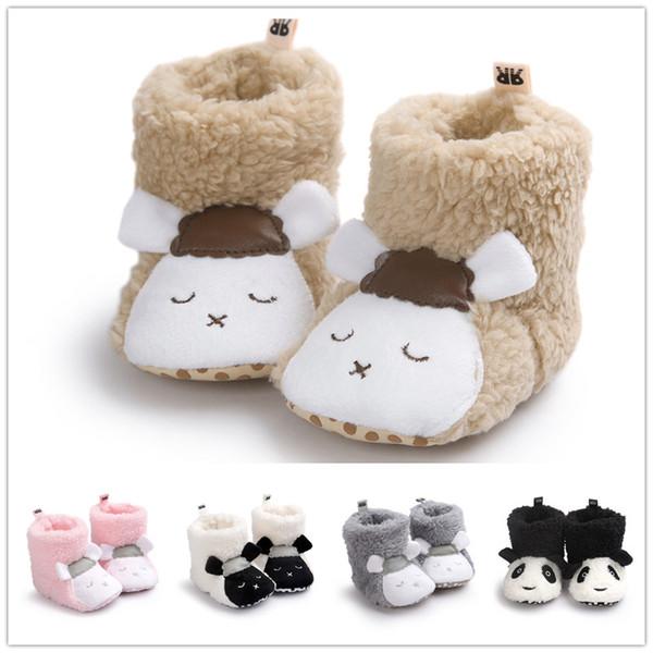 Acheter Bébé Mignon En Laine De Corail Chaud Chaussures D'intérieur Nourrissons Dessin Animé Moutons Animaux Panda En Peluche Première Marche