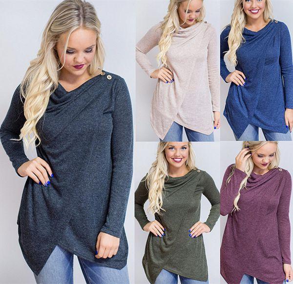 Taglie forti delle donne di modo delle taglie irregolari delle magliette con gli involucri del bottone Manica lunga trasversale femminile della camicetta Top Autunno Inverno LN1223
