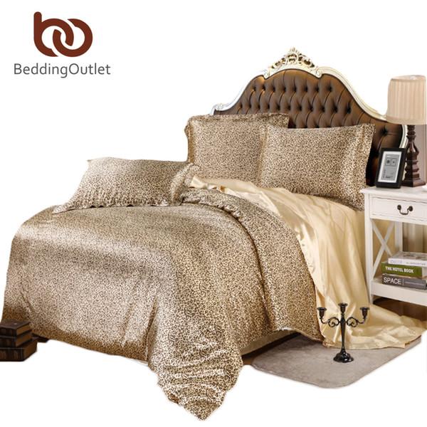 Wholesale  High Quality Bedding Set Gold Leopard Bed Linen Silk Satin Sheets  Soft Duvet Cover