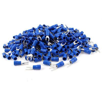 best selling Pre Insulated Fork Wire Terminals SV2-4S 16-14AWG #4 #6 #8 #10 Electrical Cable Heat Shrink Connectors Blue for Indurstry
