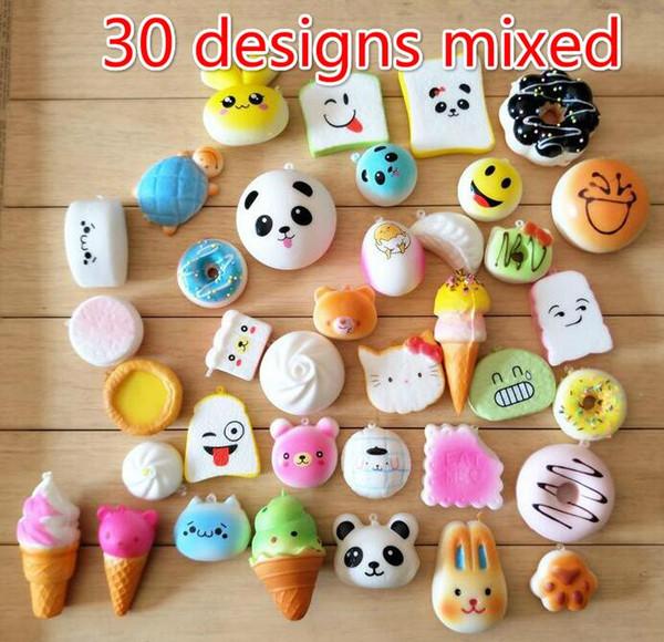 Free Ship 30pcs (30 designs) PU Cute Squishy Donut Bun Bread Icecream Food Charm Cell Phone Straps Fashion Squishies Pendant Chirstmas Gift