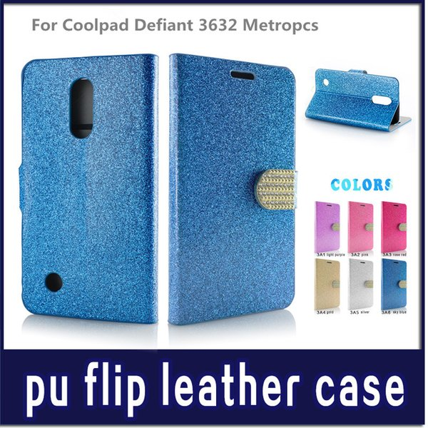 Diamond Pattern Wallet Flip PU Leather Case Cell Phone Cases For Kyocera Hydro Air C6745 For Coolpad Defiant 3632 Bling Phone Bag Cover