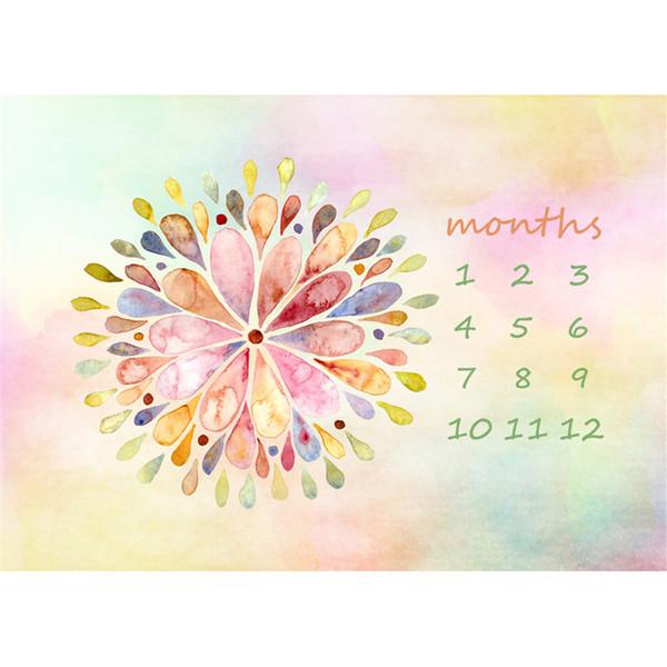 Calendario Fotografía Telón de fondo para Recién Nacido Digital Pintado Floral Nuevo Baby Shower Fondo Flores Fantasía Pastel Contextos
