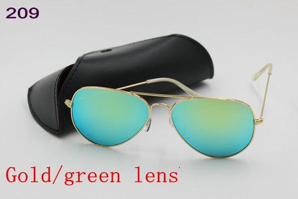 5pcs High Quality Mens Womens Designer Pilot Sunglasses Sun Glasses Gold Flash Green Mirror Glass Lenses 58mm 62mm UV Protection Box Cases