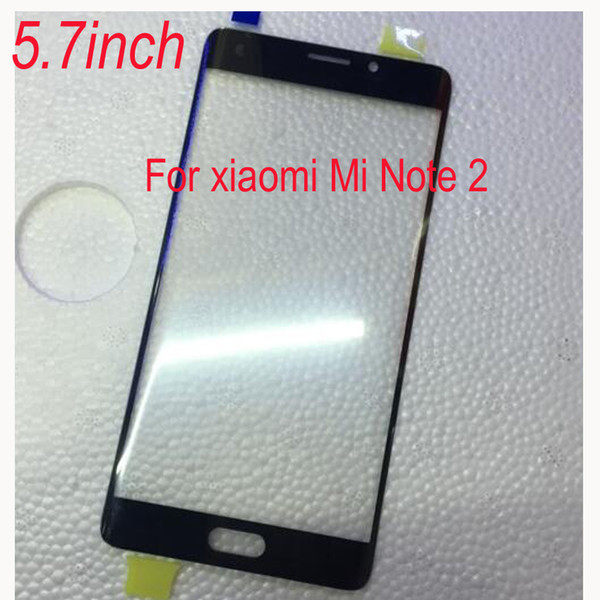 """Wholesale- 5.7"""" Black Mi Note2 Outer Glass Panel Lens Touch Screen For Xiaomi Mi Note 2 Smart Phone Parts Replacement free shipping"""