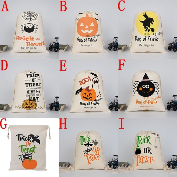 best selling 2017 New Halloween candy bag Large Canvas bags cotton Drawstring Bag With Pumpkin, devil, spider, Hallowmas Gifts Sack Bags 36*48cm