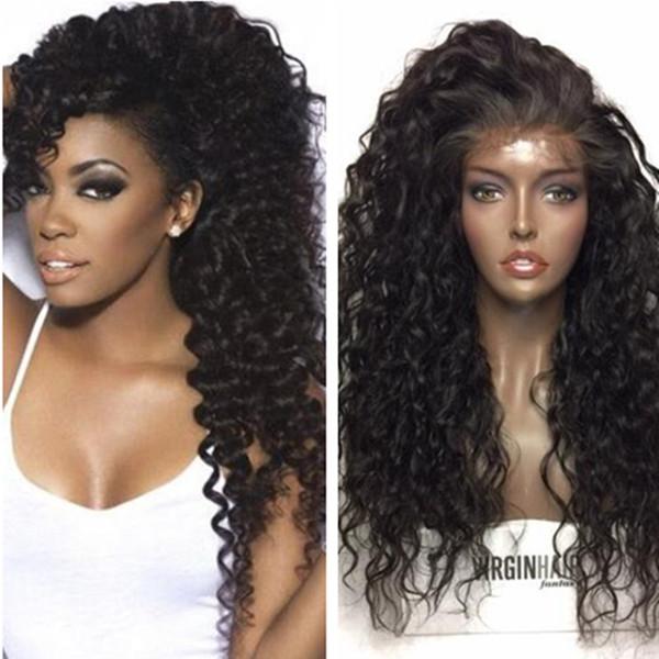 Parrucche anteriori del merletto dei capelli umani Parrucche piene del pizzo di Wave Wave per le donne nere Scelta di densità di 180% Grande in azione Parrucca profonda dei capelli ricci