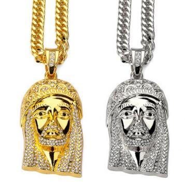 Classic big Jesus head hip hop necklace pendant HIPHOP street skateboard ornament 14K Gold pendant