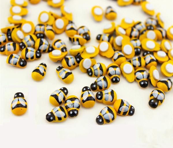 100PC-PACK Madera Amarillo Abeja Insecto Mini Craft Miniatura Jardín de Hadas Decoración Del Hogar Casas Micro Paisajismo Decoración Al Por Mayor Barato DHL / FEDEX