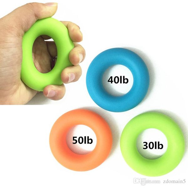 top popular New Muscle Power Training Silicone Grip Ring Exerciser 30Ib-50Ib Strength Finger Hands Grip Fitness Musculation Equipement 2019