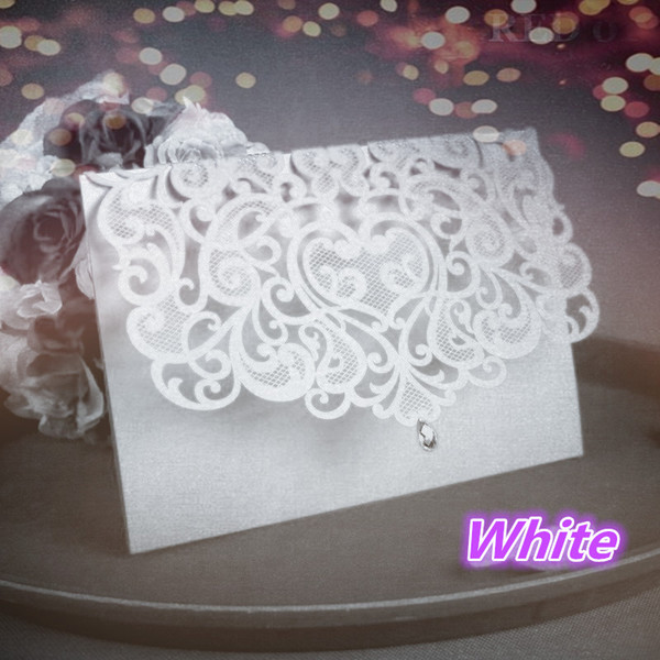 Wholesale- China Vintage Laser Cut Wedding Invitations White 50pcs Party Elegant Luxurious invitation Card Paper