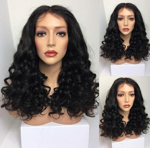 Fashion Curly Human Hair Wig 1B Virgin Indian Tip Curls Front Lace Wigs for Black Women Free Shipping