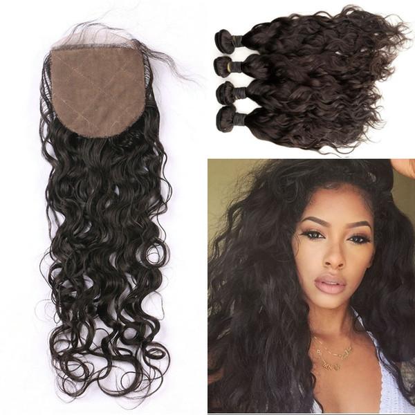 Vietnamese human hair weaves with closure natural color wet and wavy virgin hair bundles with silk base closure 5pcs/lot FDSHINE