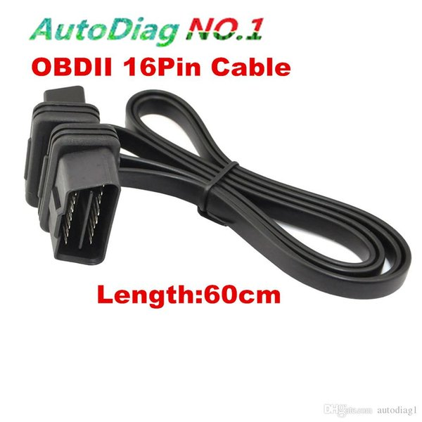 Flat Thin As Noodle OBDII OBD2 16Pin ELM327 Male To Female Elbow Extension OBD 2 Auto Car Diagnostic Cable Connector Adapter P15