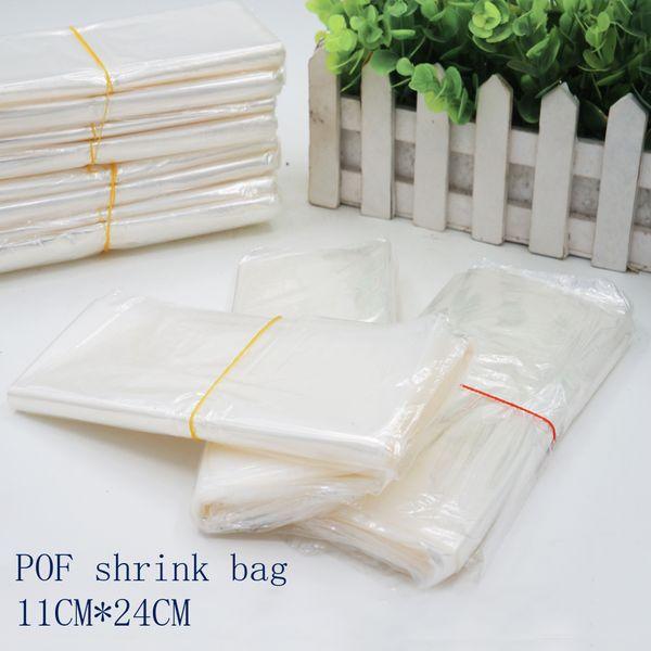 11*24cmPOF Shrink Wrap Bags white POF Film Wrap Cosmetics Packaging Bag Open Top Plastic Heat Seal Shrink Storage Bag Spot 100/ package