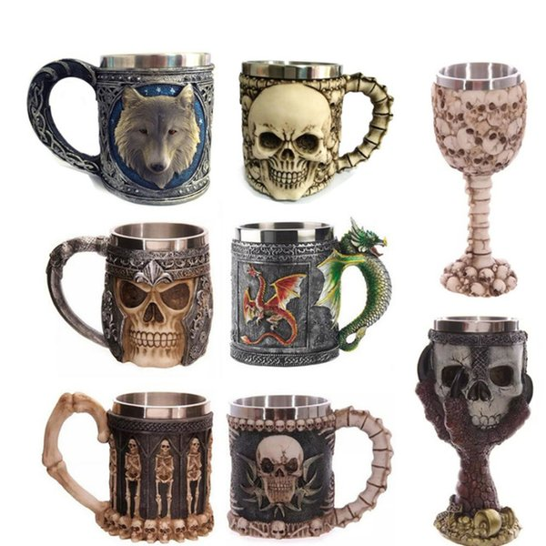 Resin With Stainless Steel Liner Drinkware Mug 3D Multi Skull & Spine Goblet Cup for Halloween Bar Party cups Wine Glass 200ml Free Shipping