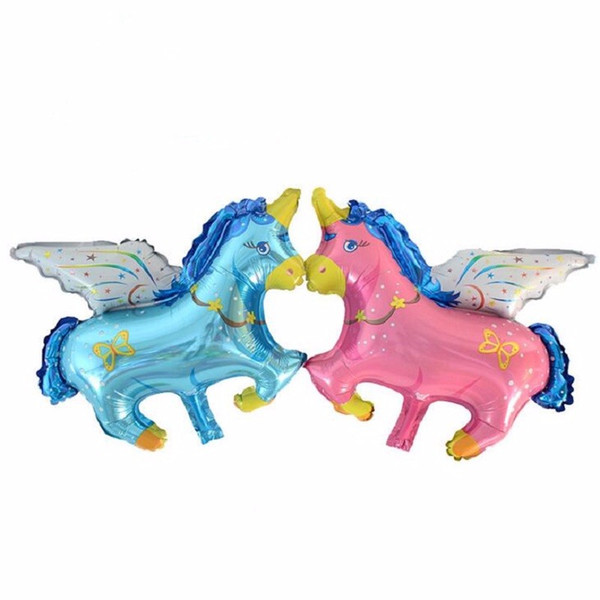 hot sale 79*68 CM Unicorn Pegasus Cartoon Horse Foil Balloons Pony Birthday Wedding Party Room Decoration Kids Inflatable Air Toy