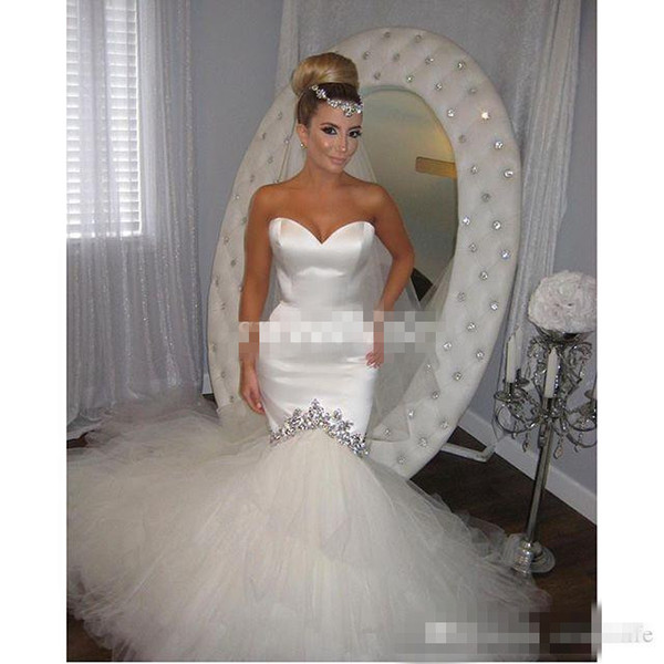 2016 Spring Wedding Dresses Sexy Backless Sweetheart Crystals Ivory Tulle Mermaid Chapel Train Pnina Tornai Custom Made Bridal Wedding Gowns