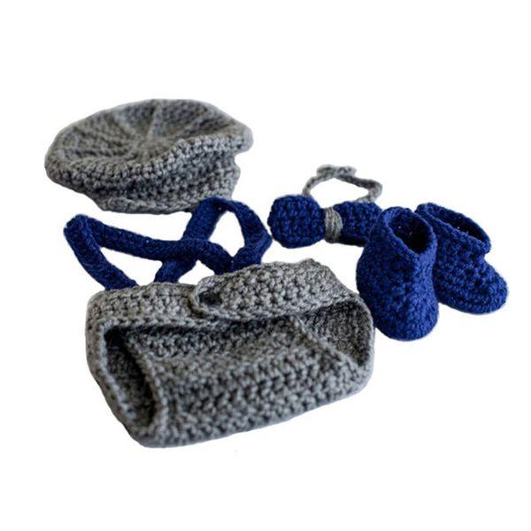 Newborn Newsboy Costume,Handmade Crochet Baby Boy Newsboy Hat,Diaper Cover,Bow Tie Booties Set,Toddler Infant Photo Props,Baby Shower Gift